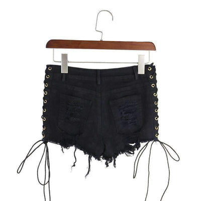 Black Denim Tattered Lace Up Women Summer Sexy Shorts Shorts Daisy Dress For Less