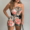 Black Halter Romper Floral Jumpsuit Womens Rompers Daisy Dress For Less