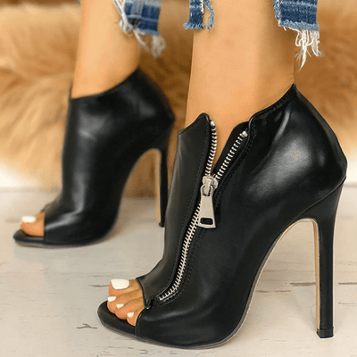 Black Leather High Heel Boots Peep Toe Women Shoes Women's Pumps Daisy Dress For Less