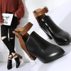 Black Leather High Heels Boots Pointed Toe Women Boots Ankle Boots Daisy Dress For Less