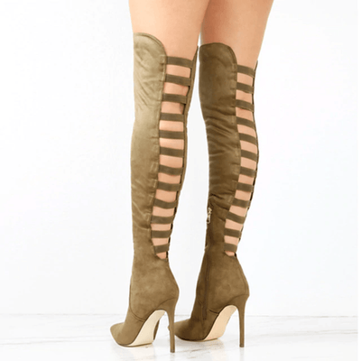 Black Over The Knee Boots Women Cut Out Boots Over-the-Knee Boots Daisy Dress For Less