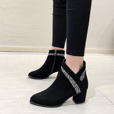 Black Pointed Toe Booties Suede Leather Boots Ankle Boots Daisy Dress For Less