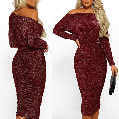 Boat Neck Midi Dress For Women Glitter Bodycon Dress Dresses Daisy Dress For Less