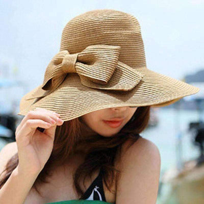 Bohemian Woven Bow Knot Women Summer Wide Hat Summer Hat Daisy Dress For Less