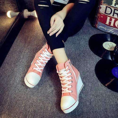 Casual Lace Up Canvas High Heel Women Shoes Shoes Daisy Dress For Less