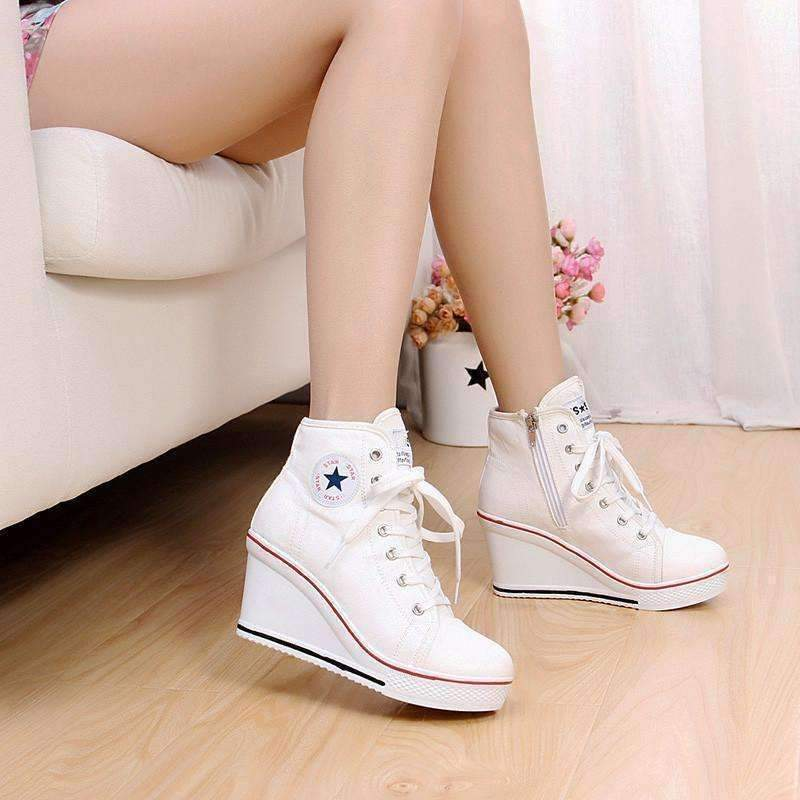 d4e6f7552eb1 Casual Lace Up Canvas High Heel Women Shoes Shoes Daisy Dress For Less
