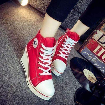 Daisy Dress For Less Shoes red / 4.5 Casual Lace Up Canvas High Heel Women Shoes