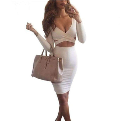Criss Cross Women Midi Clubwear Dress Bandage Dress Daisy Dress For Less