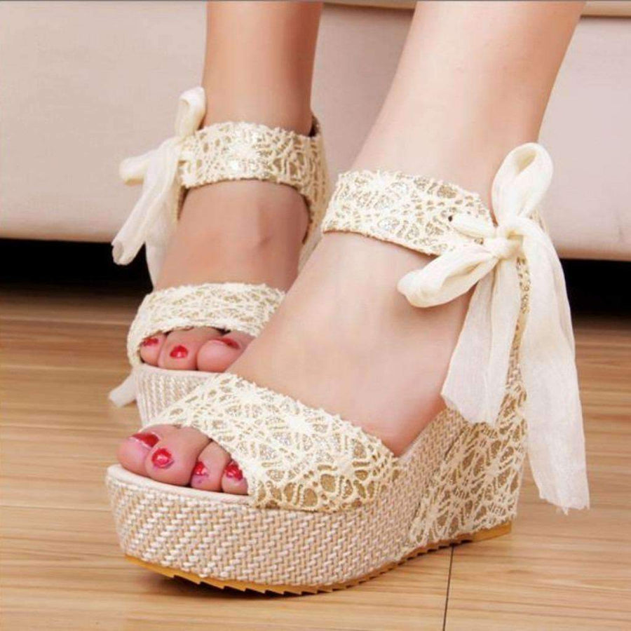 d7322844e523 Cute Lace Up Ribbon Ankle Strap Wedges Sandals Wedge Daisy Dress For Less