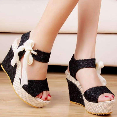 Cute Lace Up Ribbon Ankle Strap Wedges Sandals Wedge Daisy Dress For Less