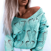 Deep V Neck Top Hollow Out Knit Sweater Pullovers Daisy Dress For Less