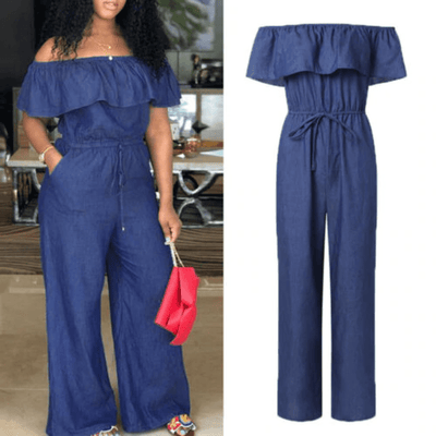 Denim Jumpsuit For Women Ruffle Neck Romper Jumpsuits Daisy Dress For Less
