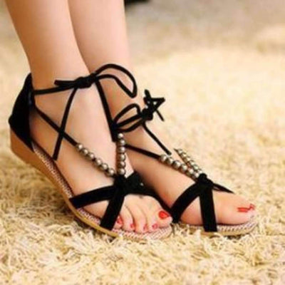 Fashion Lace-Up Open Toe Sandals Sandals Daisy Dress For Less