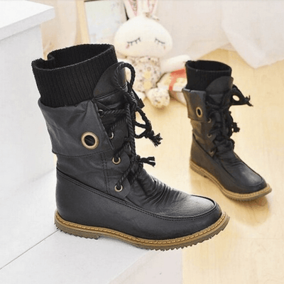 Fashion Vintage Lace up Women Motorcycle Snow Boots Shoes Daisy Dress For Less