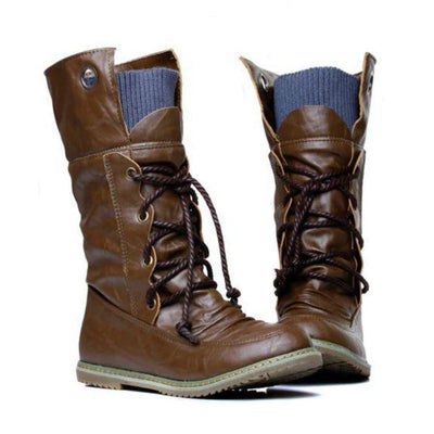 Fashion Vintage Lace up Women Motorcycle Snow Boots Women Boots Daisy Dress For Less