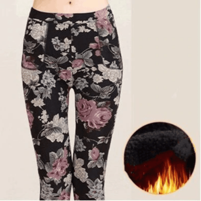 Fleece Leggings For Women Floral Print Leggings Pants & Capris Daisy Dress For Less