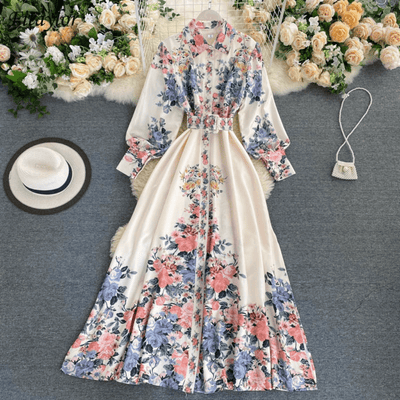 Floral Long Sleeve Long Dress With Belt Dresses Daisy Dress For Less