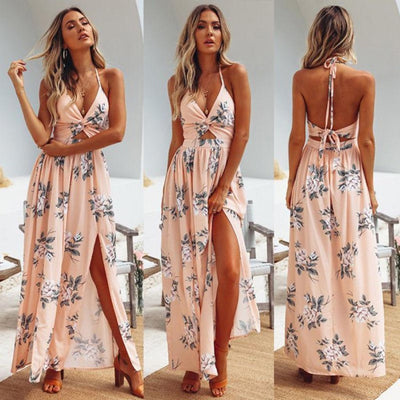 Floral Print Backless Boho Maxi Dress With Slits Dresses Daisy Dress For Less