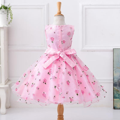 Floral Print Wide Sash Pleated Ball Gown Kids Party Dresses Girl Party Dresses Kids Now Apparel