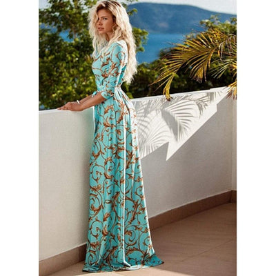 Floral Wrap Maxi Dress Floor Length Half Sleeve Dresses Daisy Dress For Less