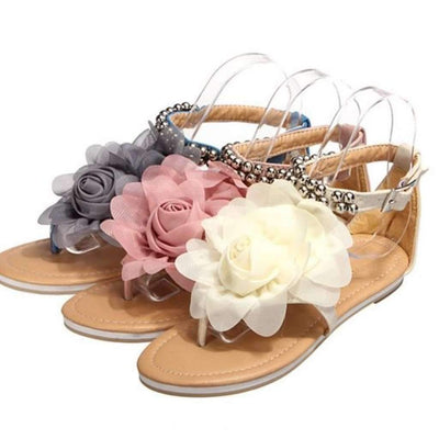 Flower Beaded Bohemia Flat Sandals Shoes Daisy Dress For Less