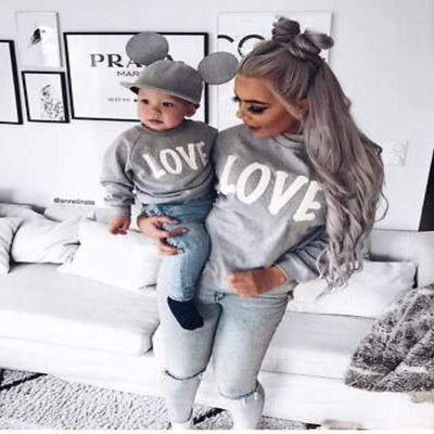 Gray Love Print Mother and Toddler Matching Pullover Matching Family Outfits Kids Now Apparel