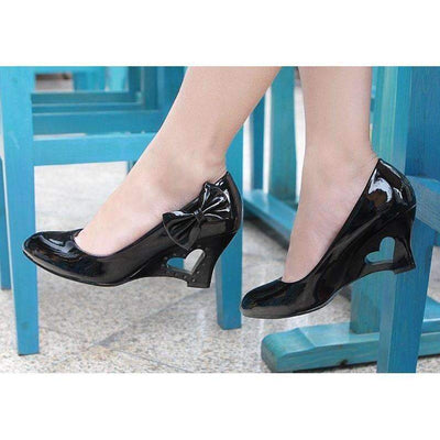 Daisy Dress For Less Shoes 4 / Black Heart Heel Bowtie Women Wedge Shoes