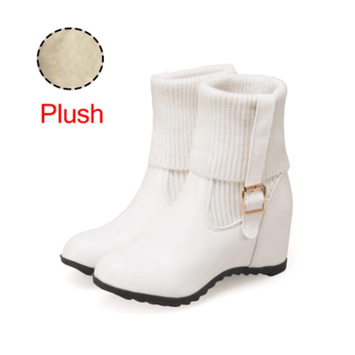 Hidden Wedge Ankle Boots Women Boot Sock Mid-Calf Boots Daisy Dress For Less