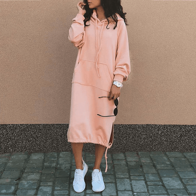 Hooded Sweatshirt Dress With Pockets Dresses Daisy Dress For Less