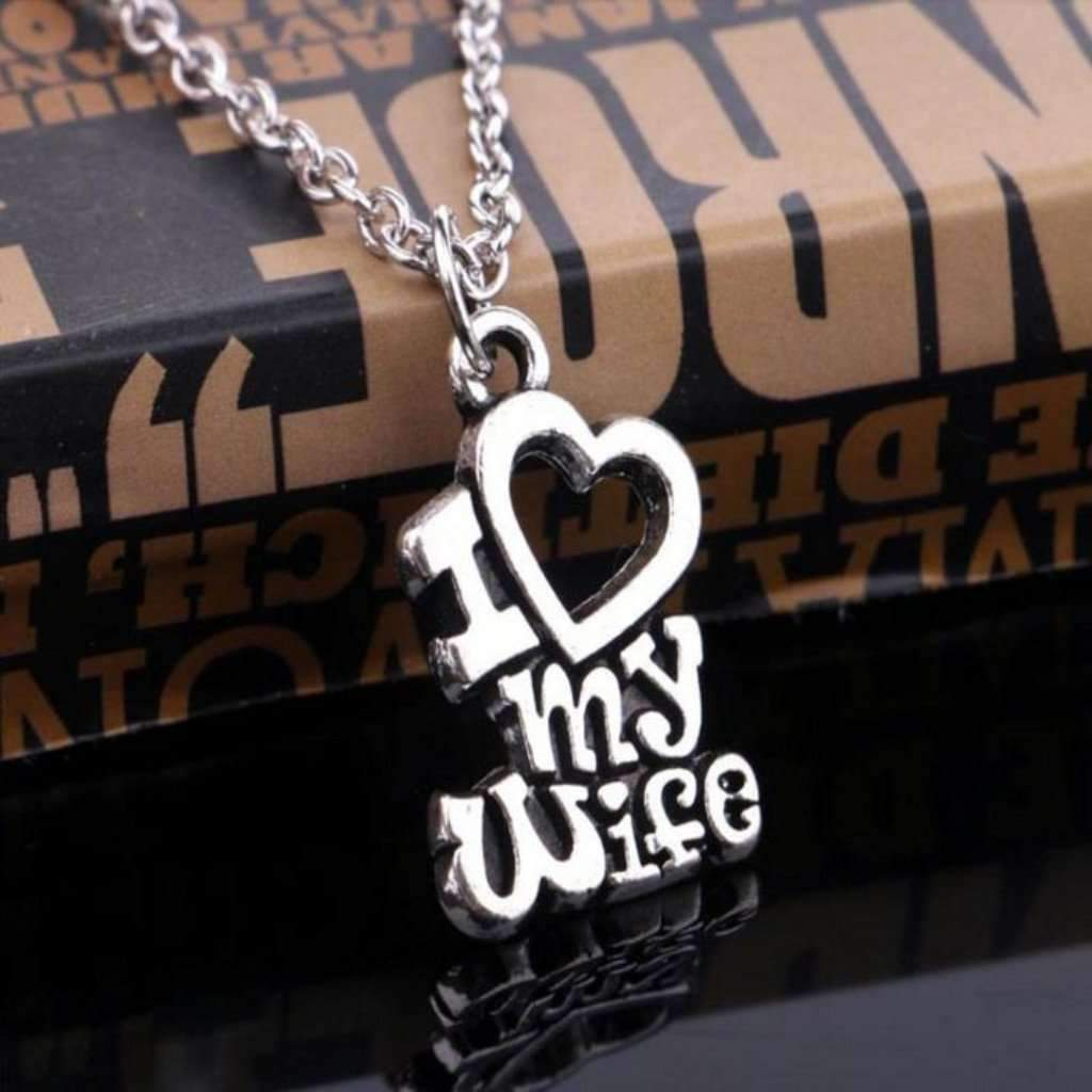 I Love My Wifehusband Pendant Necklace