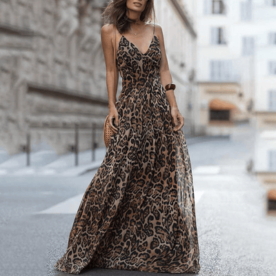 Leopard Print Maxi Dress Womens V Neck Chiffon Dress Dresses Daisy Dress For Less