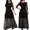 Long Black Lace Dress Polka Dot Mesh Maxi Dress Dresses Daisy Dress For Less