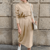 Long Sleeve Knitted Midi Dress With Belt Dresses Daisy Dress For Less