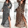 Long Sleeve Leopard Print Dress Asymmetric Hem Dress Dresses Daisy Dress For Less