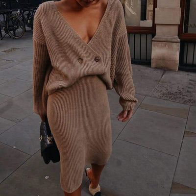 Long Sleeve Two Piece Dress Long Knit Dresses For Winter Dresses Daisy Dress For Less