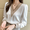 Long Sleeve White Blouse Embroidered V Neck Chiffon Top Blouses & Shirts Daisy Dress For Less