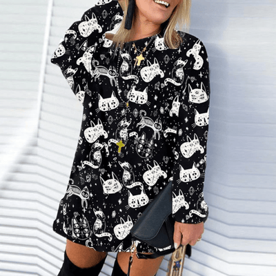 Loose Sweater Dress Women Letters Print Sweater Dresses Daisy Dress For Less