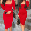Midi Dress With Sleeves Square Neck Bodycon Dress Dresses Daisy Dress For Less