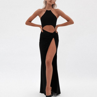 off shoulder long dress halter maxi dress with high slit Dresses NewAsia Garden Official Store