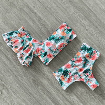 Off The Shoulder Swimsuit Two Piece Floral Swimwear Bikini Set Daisy Dress For Less
