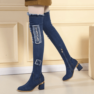 Over The Knee Heeled Boots Women Denim Boots Over-the-Knee Boots Daisy Dress For Less