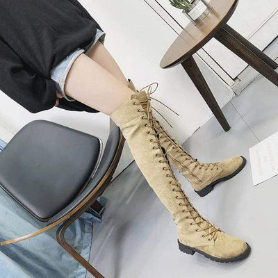 Over The Knee Lace Up Boots Women Suede Boots Over-the-Knee Boots Daisy Dress For Less