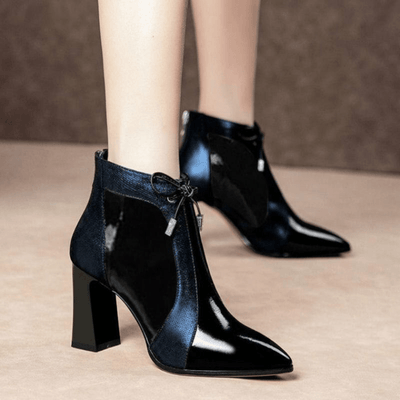 Patent Leather Boots For Women Glossy Ankle Boots Ankle Boots Daisy Dress For Less