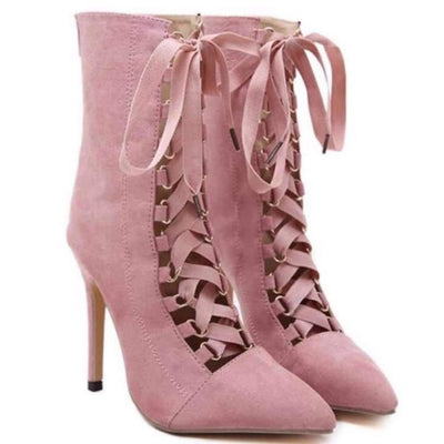 Pointed Toe Lace Up High Heels Women Stiletto Booties Shoes Daisy Dress For Less
