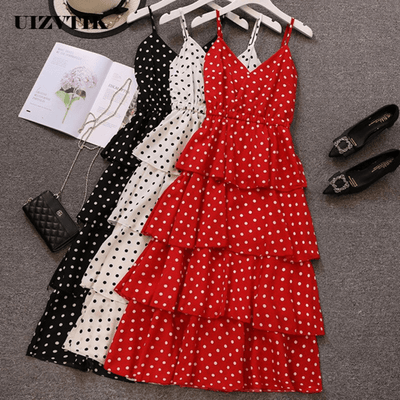 Polka Dot Midi Dress Spaghetti Strap Dress Layered Dresses Daisy Dress For Less