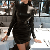 PU Leather Dress Turtleneck Bodycon Dress Dresses Daisy Dress For Less