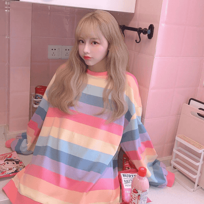 Rainbow Striped Sweatshirt Women Long Sleeve Hoodie Hoodies & Sweatshirts Daisy Dress For Less