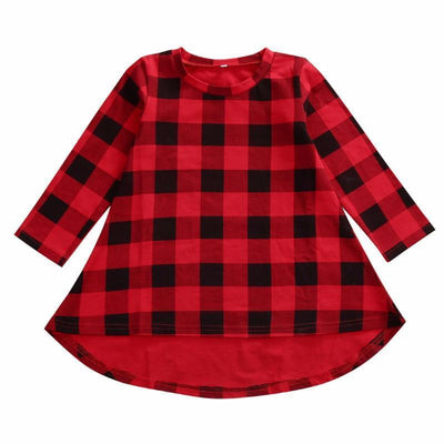 Red Plaid Asymmetric Casual Girls Dress Girls Dresses Kids Now Apparel