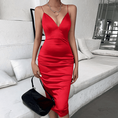 Satin Midi Dresses Deep V Neck Bodycon Dress Dresses Daisy Dress For Less