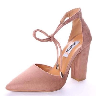 Self Tie Pointed Toe Suede Women High Heel Pumps Women's Pumps Daisy Dress For Less